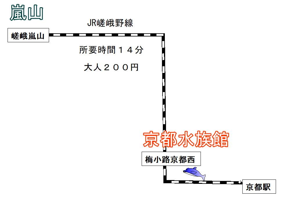 嵐山から京都水族館へ電車でのアクセスはJRが直通で便利に!